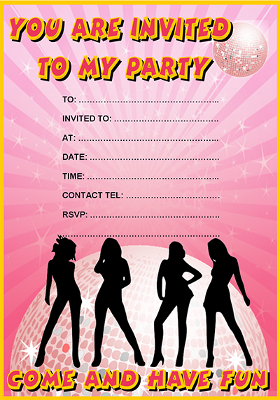 Free Pink Disco Party Invitation