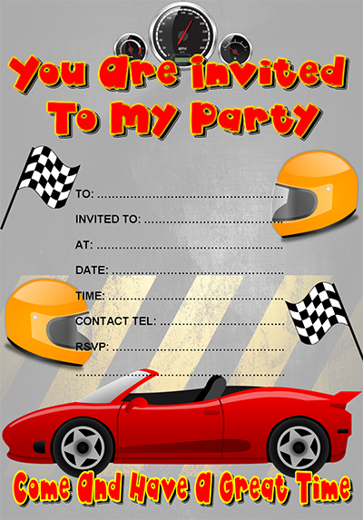 Free Racing Car Party Invitation