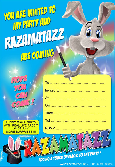Razamatazz invitation blue